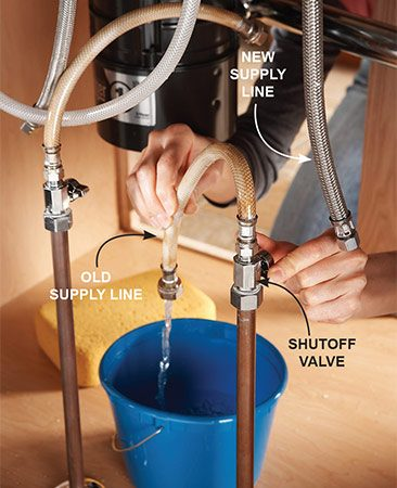 <b>Flush out sediment</b></br> <p>Working on the water lines always shakes sediment loose. The last thing you want is for these deposits to clog your new faucet. Avoid this problem by purging the lines before hooking up the new supply lines.</p>  <p>Once the entire project is complete and the new supply lines are attached to the faucet, fasten the old supply lines to the shutoff valves. Next, turn the water all the way on for a full minute to wash away any debris in the lines. Then attach the new lines to the shutoff valves. After three days, take the aerator off the faucet and rinse away any sediment that has seeped through.</p>