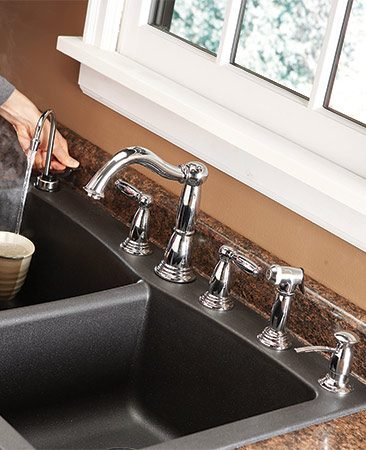 "<b>Match faucet to sink openings</b></br> <p>Most sinks have three holes for the faucet and a fourth for an accessory, such as a sprayer or a soap dispenser. But some faucets require only one or two holes, and you may not want enough accessories to use the rest. You can buy plugs for unused holes, but they usually don't match the sink. If the sink doesn't have enough holes, cutting an extra hole in stainless steel or cast iron is often difficult or impossible.</p>  <p>To avoid these hassles, choose the faucet and accessories first, then buy a sink with a matching number of holes. Some sinks have ""knockouts"" that you can drill to provide extra holes. You can also special-order a sink with the number of holes you need.</p>"