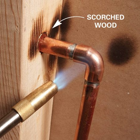 <b>Avoid fires</b></br> Don't solder close to wood or other flammable material without protecting it from the flame.