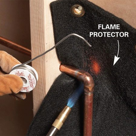 <b>Flame protector</b></br> These small flame-retardant blankets are available at hardware stores and home centers. You hang one behind the joint you're working on to insulate the flammable material and help prevent fires. In a pinch you could use a piece of sheet metal instead. Wetting the area around the soldering job with a spray bottle of water also helps prevent fires. Keep a fire extinguisher handy as a precaution.