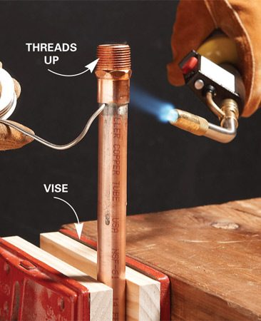 <b>Don't get solder on threaded fittings</b></br> Solder drips can clog the threads, making it difficult to get a good seal when you screw on the matching part.