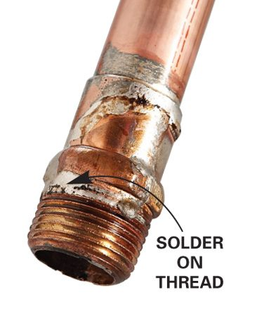 <b>Follow these steps to avoid the problem</b></br> If the threaded fitting is positioned so that solder will run down onto the threads, solder the pipe and fitting at a workbench instead so you can keep the fitting pointed up. If you have to solder a threaded fitting where the solder will flow onto the threads, make sure to wipe excess flux from around the joint after you assemble the pipe and fitting. Extra flux can run down onto the threads, causing the solder to follow it.