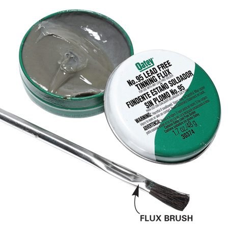 <b>Flux</b></br> Tinning flux works just like standard flux but contains a bit of silver solder powder that melts when heat is applied. The resulting thin layer of solder helps ensure a leakproof joint. Tinning flux is available at most hardware stores and home centers and only costs a little more than standard flux.
