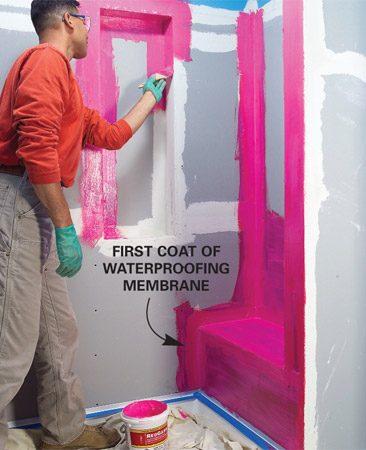 <b>Photo 4: Waterproof</b></br> Coat water-prone areas with two coats of waterproofing membrane.
