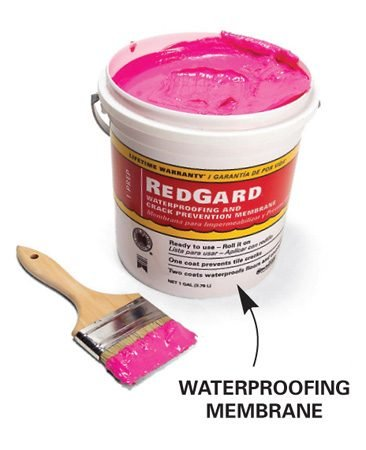 <b>Waterproofing membrane</b></br> Waterproofing membrane is brushed on. It's widely available at tile suppliers.