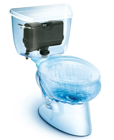 <b>Water-saver</b></br> Using a compressed-air boost, Kohler's Pressure Lite toilets offer no-plug performance using as little as 1.1 gallons per flush. This can save 5,000 gallons per year.