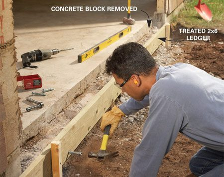 <b>Photo 3: Ledger board</b></br> Attach the ledger board to the garage foundation with concrete sleeve anchors. Temporarily support the ledger with wood stakes while you drill holes for the anchors.