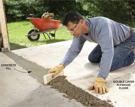 <b>Photo 6: Fill gaps</b></br> Fill the gap between the garage floor and the plywood bump-out floor with concrete. Drag a scrap of 2x4 over the concrete to level it. Then trowel it smooth when it begins to harden.