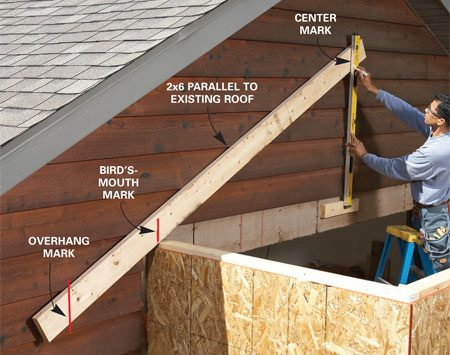 <b>Photo 8: Lay out the roof</b></br> <p>Make a rafter pattern by tacking a 2x6 to the garage wall,   parallel to the garage roof, and drawing lines on it to indicate   the center of the bump-out, the overhang distance and the   bird's-mouth cut.   Use the pattern to   mark and cut the   rafters. </p>