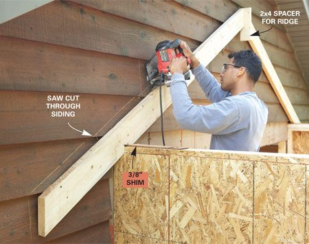 <b>Photo 9: Cut the siding</b><br/>Tack a pair of rafters to the garage wall as a guide for cutting the siding. Place a 2x4 spacer between the top ends of the rafters to simulate the ridge. Remove the rafters and pry off the siding.