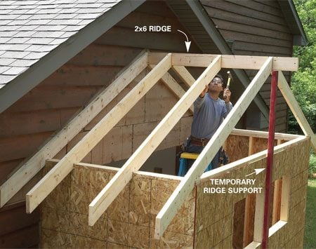 <b>Photo 10: Frame the roof</b><br/>Temporarily support the ridge while you nail the rafters to it. Nail through the ridge into the rafters and toenail the rafters to the tie plate. Then reinforce the connection between the rafters and the tie plate with metal hurricane ties.