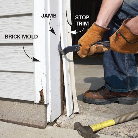 <b>Photo 1: Remove the old trim</b></br> Cut through any caulk lines with a utility knife, then pry off the old garage doorstop, brick mold and jamb.