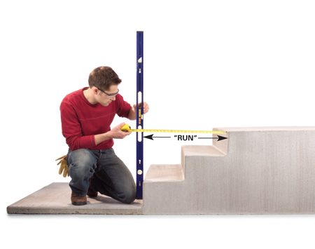 "<b>Photo 3: Measure the ""run""</b></br> Hold a level against the lowest step and adjust it until the bubble reads plumb. Then measure from the edge of the level to the edge of the landing to determine the total ""run"" of the treads."