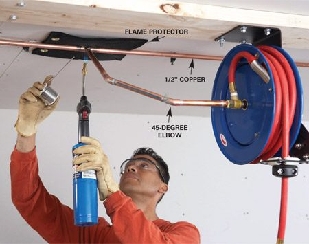 <b>Photo 3: Run the copper air line</b></br> Sweat the connections near the ceiling. Use a flame protector between the fittings and the ceiling.