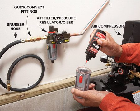 "<b>Photo 4: Connect the compressor</b></br> Fill the oiler with air tool oil. Install a ""snubber"" hose with a quick-connect fitting to connect the air compressor to the system."