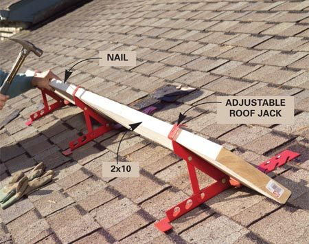 <b>Photo 1: Install roof jacks</b></br> Nail roof jacks to the rafters and then nail on a 2x10 to prevent you—and the shingles—from sliding off the roof.
