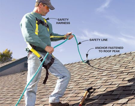 <b>Photo 2: Wear a safety harness</b></br> Use a safety harness system to prevent falls. Wear shoes with soft rubber soles for a good grip and long pants to protect against the skin-scraping shingles.
