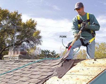 <b>Photo 3: Start at the peak</b></br> Tear off the ridge caps so you can work the fork under the shingles near the peak