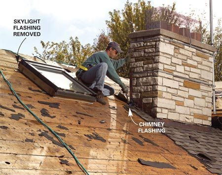 <b>Photo 6: Evaluate existing flashing</b></br> Pull nails carefully around flashings you plan to reuse. Skylight and chimney flashings are often worth saving if they're in good condition.