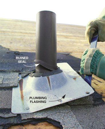 <b>Photo 10: Remove vent flashing</b></br> Pry flashing loose around vent pipes. Use a pry bar rather than a fork to avoid damaging the pipes. Never reuse vent flashing.