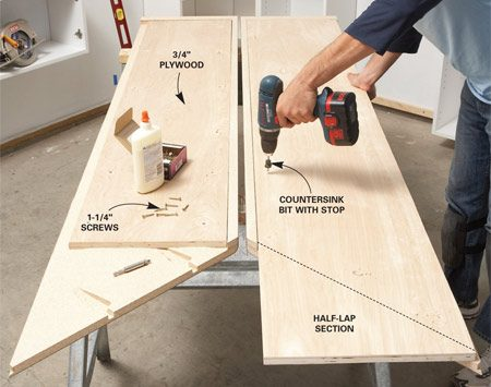 "<b>Photo 6: Add plywood support</b></br> Glue and screw plywood to the undersides of the countertops to strengthen them. Create a ""half-lap"" at corners by running plywood short on one side and long on the other."