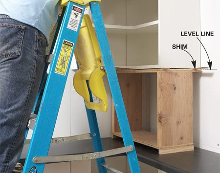 <b>Photo 8: Install the uppers</b></br> Support the upper cabinets with a homemade wood box. Adjust the cabinet height precisely with shims and screw it to the studs.