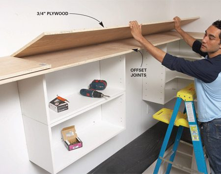<b>Photo 9: Assemble the top shelf</b></br> Build the upper shelf from two layers of plywood. Offset the joints and make sure all joints are over cabinets.