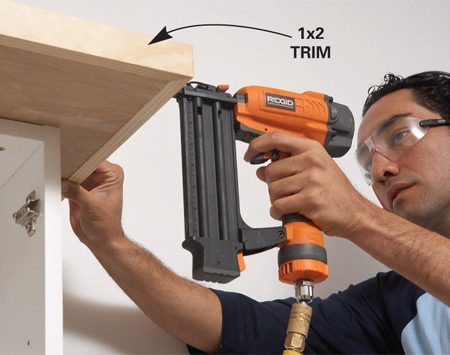 <b>Photo 9A: Add shelf trim</b></br> Trim the shelf with 1x2.