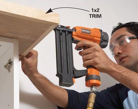 <b>Photo 9A: Add shelf trim</b></br> Trim the shelf with 1x2.