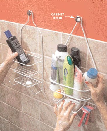 <b>Hang a second shower caddy</b></br> The trouble with those shower caddies that hang from the showerhead pipe is that you have only one showerhead. To get more space for your bath potions, hang another caddy on a cabinet knob. With a No. 8-32 hanger screw, you can screw the knob into a stud. To fasten to drywall, use a screw-in drywall anchor along with the hanger screw.