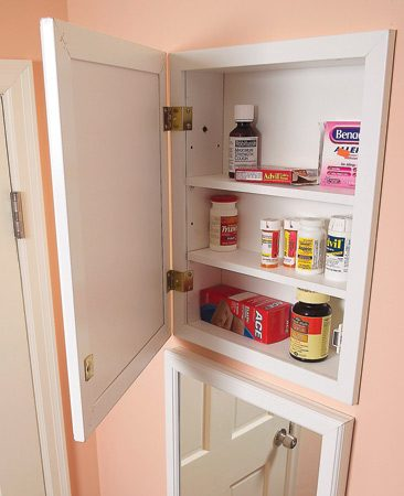 "<b>Add an extra medicine cabinet</b></br> Many bathrooms have wall space, usually next to the door, that's perfect for an extra medicine cabinet—or even two. With ""recessed"" cabinets that fit between studs, you don't lose an inch of bathroom space. Medicine cabinets are available at home centers starting at about $35. To browse a broad range of styles, search online for ""medicine cabinet."" To see how to install one, go to <a href='http://www.familyhandyman.com'>familyhandyman.com</a> and search for ""bathroom storage."""