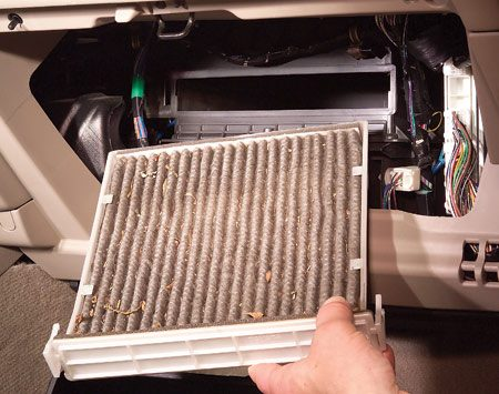 <b>Replace the air filter annually</b></br> A clogged cabin air filter puts an added load on your car's A/C system and reduces heat in winter. Replace it at least once a year.