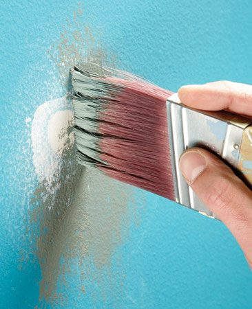 <b>Apply primer by dabbing it against the wall</b><br/>You&#39;ve filled in the dents and dings, and now it&#39;s time to paint, right? Wrong! All those patches, even the tiny ones, must be primed. The unprimed patches will absorb paint and leave noticeable dull spots (called &ldquo;flashing&rdquo;). When you apply primer, don&#39;t just brush it on. The tiny ridges of  brush marks will show through the paint coat. Instead, &ldquo;stipple&rdquo; it on by dabbing your brush against the wall. The bumpy texture will better match the texture of rolled-on paint.