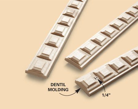 <b>Close-up of dentil molding</b></br> Dentil molding is available at most home centers and lumber yards.