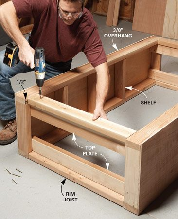 <b>Photo 1: Assemble the walls </b></br> Frame and sheathe the walls, then join them with plates and joists. Use the best pieces of lumber in the front where they'll show.