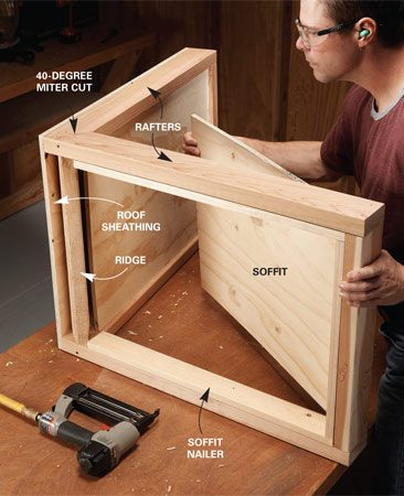 <b>Photo 2: Assemble the roof</b></br> Build the roof on your workbench. Start with an L-shaped 2x4 frame, then add the nailers, soffit, sheathing and trim. Shingle with cedar or asphalt shingles.