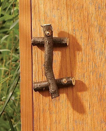 <b>Tree branch door handles</b></br> Make a rustic door handle from a tree branch. Nail the crosspieces to the door with brad nails, then notch the back of the handle so it sits flat on the crosspieces and nail it in place.