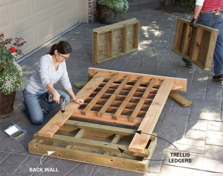 <b>Photo 1: Build the walls and trellis</b></br> Build the walls and trellis on a big, flat work surface like your driveway. Mount the trellis on the back wall before moving it to the pond site.