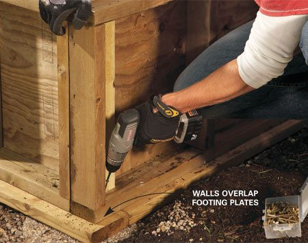 <b>Photo 4: Erect the walls</b></br> Lock the walls together by screwing them to each other and then to the footing plates. Add overlapping tie plates for rock-solid corners.