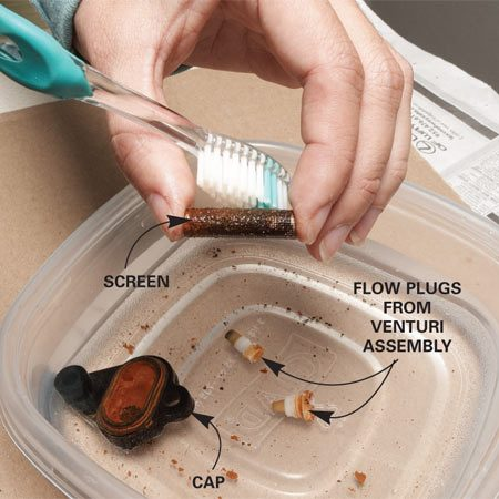 <b>Clean the parts</b></br> Gently clean dirt and mineral deposits from the screen and from the venturi assembly parts in a pan of warm water.