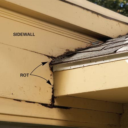 <b>Common rot spot</b></br> The intersection between a roof and a sidewall can be a rot problem waiting to happen. Even if the roof has been properly flashed against the sidewall (this one hasn't), water can still run down the side of the house and behind the siding, causing rot.