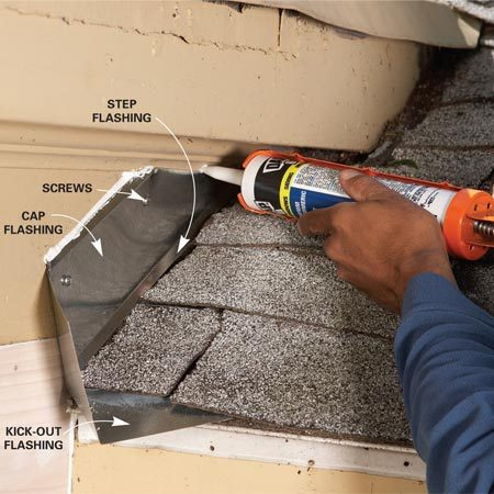 <b>Photo 2: Cover with cap flashing</b></br> If the kick-out and step flashing can't tuck behind the siding, screw on cap flashing to cover it, then caulk along the top.