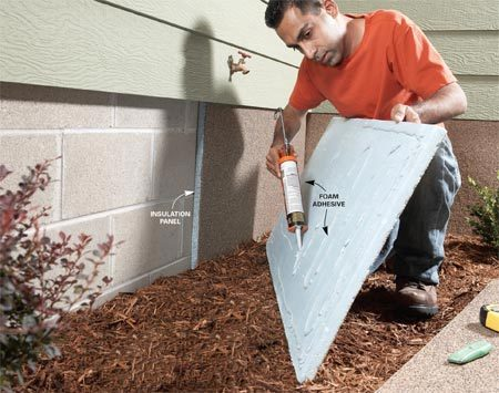 <b>Installing insulation panels</b></br> Install insulation panels on bare foundation walls to save energy and enhance your home's curb appeal. Fasten them to clean walls with a special foam adhesive.
