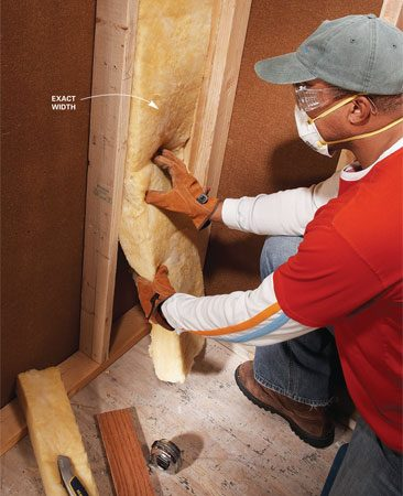 <b>A good insulation fit</b><br/>Cut fiberglass insulation with a sharp utility knife and a straightedge.