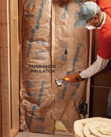 <b>Paper-faced insulation </b><br/>Paper-faced insulation is more difficult to cut and install.