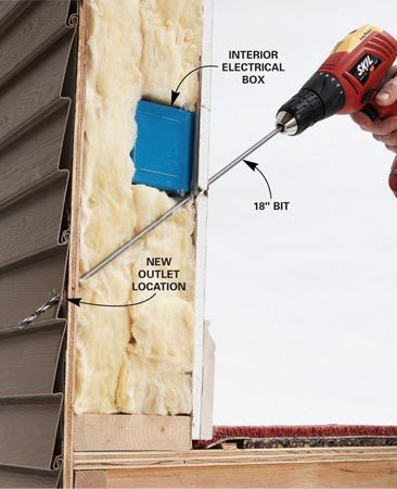<b>Photo 1: Drill through the exterior wall</b></br> Drill a 1/4-in. hole alongside an existing electrical box to mark the location of the new outlet. Go outside and drill a 3/4-in. hole in the siding over or near the smaller hole.