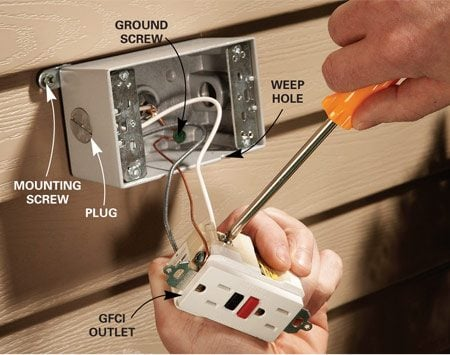 how to add an outdoor outlet the family handyman photo 4 wire the exterior gfci outlet