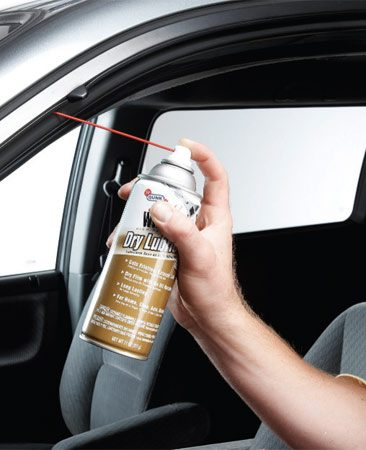 <b>Photo 1: Lube window tracks </b></br> Spray window tracks with silicone spray or dry Teflon. Silicone stays slick even in cold weather, so windows slide smoothly, lessening the wear on your window motors.