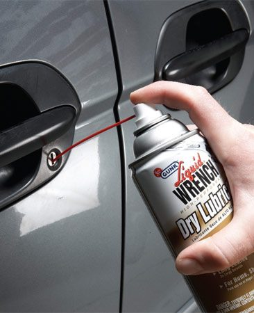 <b>Photo 4: Lube locks</b></br> Keep your lock cylinders working smoothly by injecting dry Teflon lubricant spray. You never know when your remote keyless entry system might let you down.