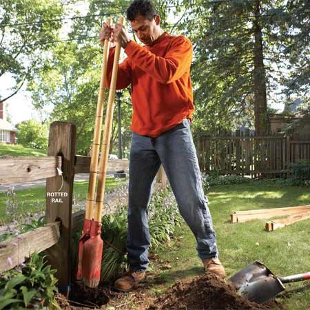 <b>Photo 1: Dig alongside the post</b></br> Dig to the bottom of one side of the post that holds the rotted rail.